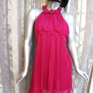 BEBE Large Halter Cocktail Dress Hot Pink/ Magenta